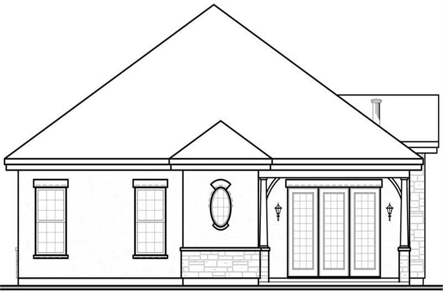 Home Plan Rear Elevation of this 3-Bedroom,1634 Sq Ft Plan -126-1003