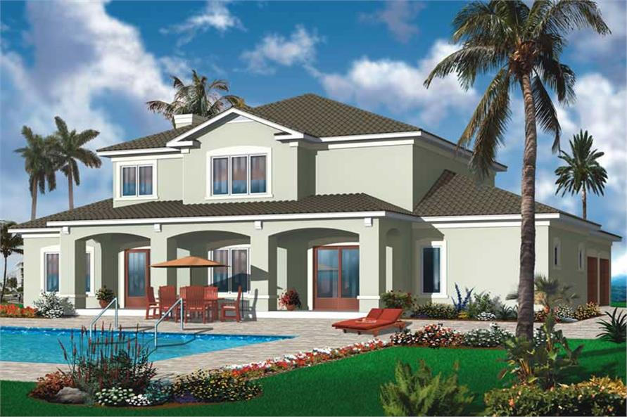 Home Plan Rear Elevation of this 6-Bedroom,3448 Sq Ft Plan -126-1004