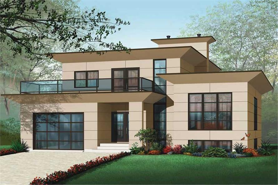 4-Bedroom, 3198 Sq Ft Contemporary Home Plan - 126-1012 - Main Exterior