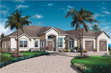 3-Bedroom, 2495 Sq Ft Ranch Home Plan - 126-1014 - Main Exterior