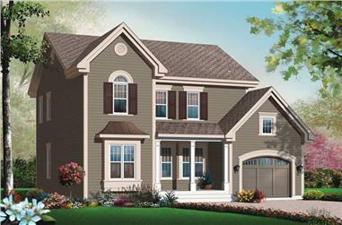 3-Bedroom, 1824 Sq Ft Country House Plan - 126-1017 - Front Exterior