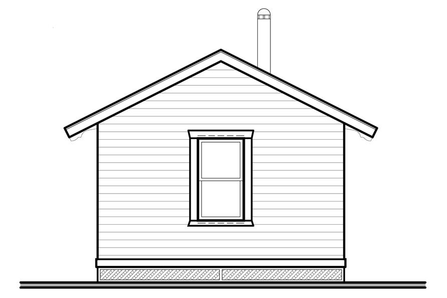 Home Plan Rear Elevation of this 1-Bedroom,384 Sq Ft Plan -126-1021