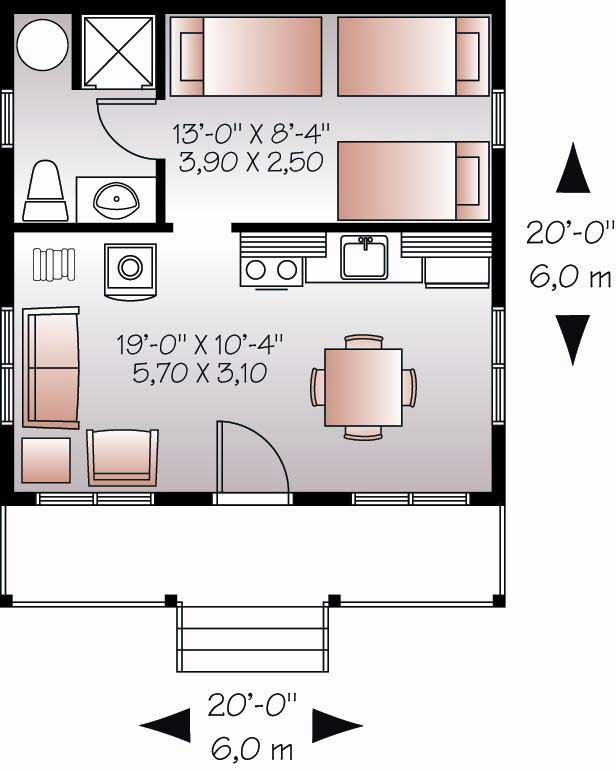 Small house plan tiny home 1 bedrm 1 bath 400 sq ft for Home design 6 x 20