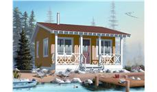 This is a computer rendering of these Small Vacation Home Plans.