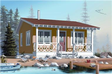 This is a computer rendering of this Tiny House Plan / Small Vacation Home Plan.