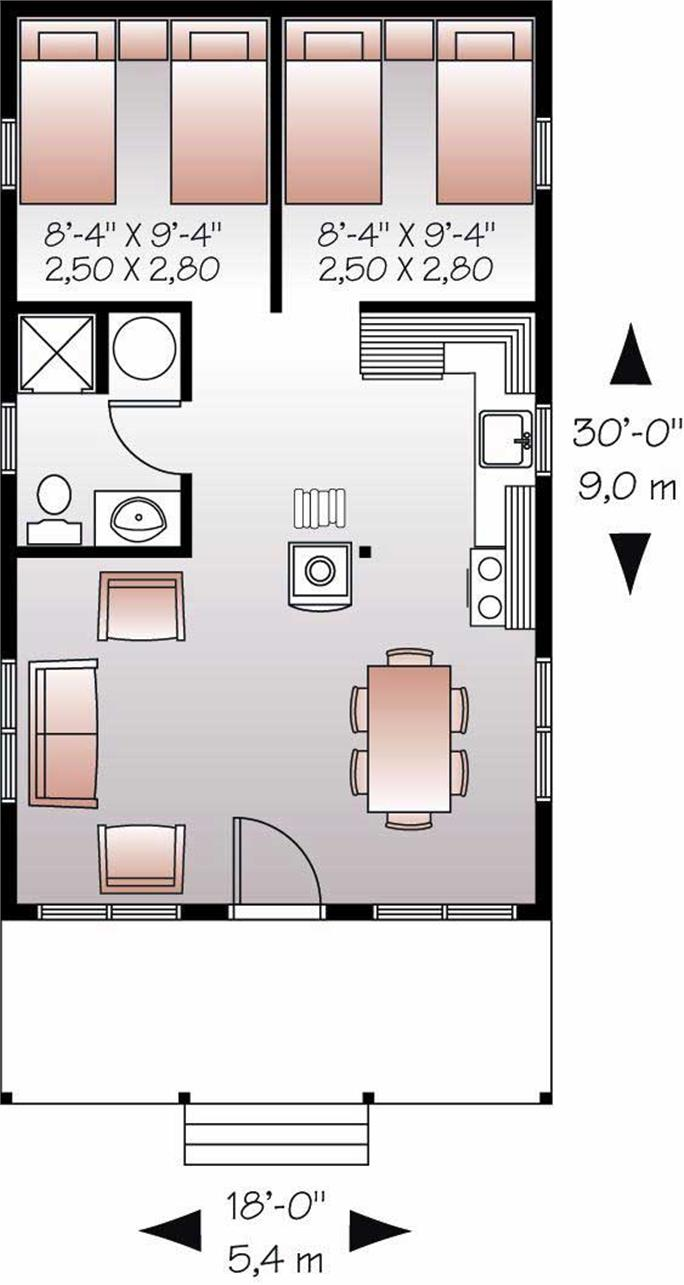 Small House Plans   Vacation Home Design DD      Floor Plan First Story