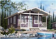 This is a color rendering of the front of these Small Vacation Homeplans.