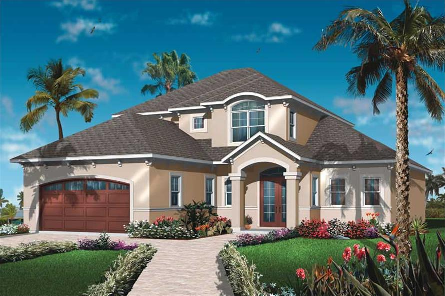 4-Bedroom, 2520 Sq Ft Mediterranean House Plan - 126-1027 - Front Exterior