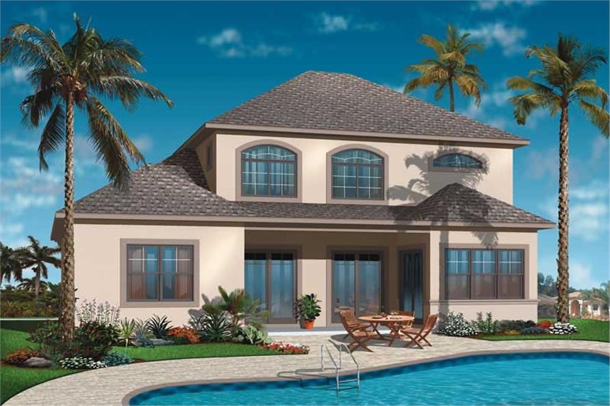 Home Plan Rear Elevation of this 4-Bedroom,2520 Sq Ft Plan -126-1027