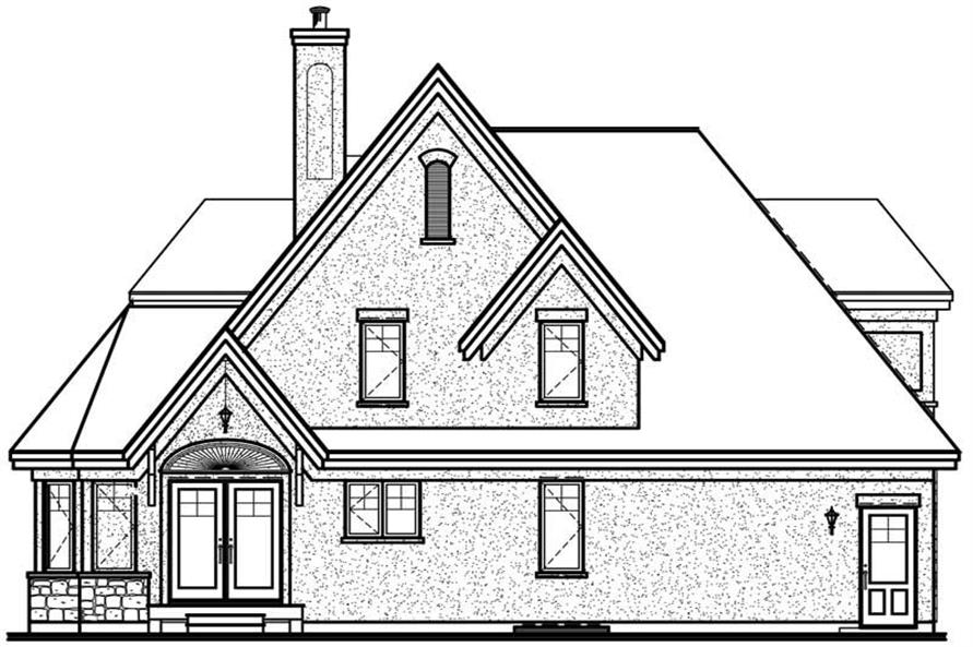 Home Plan Rear Elevation of this 3-Bedroom,1826 Sq Ft Plan -126-1031