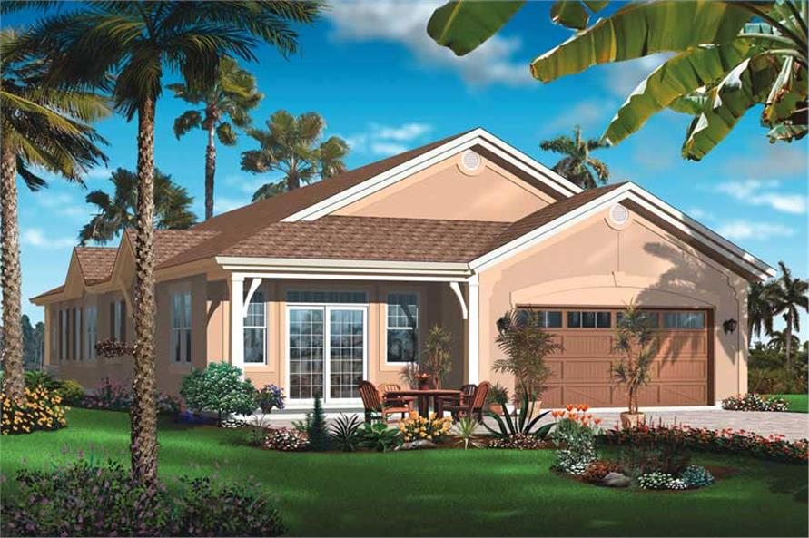 Home Plan Rear Elevation of this 4-Bedroom,2336 Sq Ft Plan -126-1032