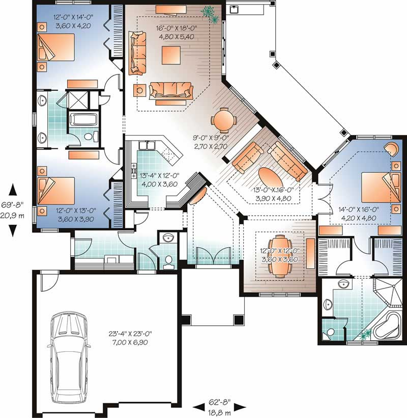 Mediterranean Bungalow House Plans Home Design Dd 3258