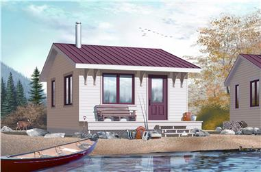 This is a colorful rendering of these Small Vacation Home Plans.