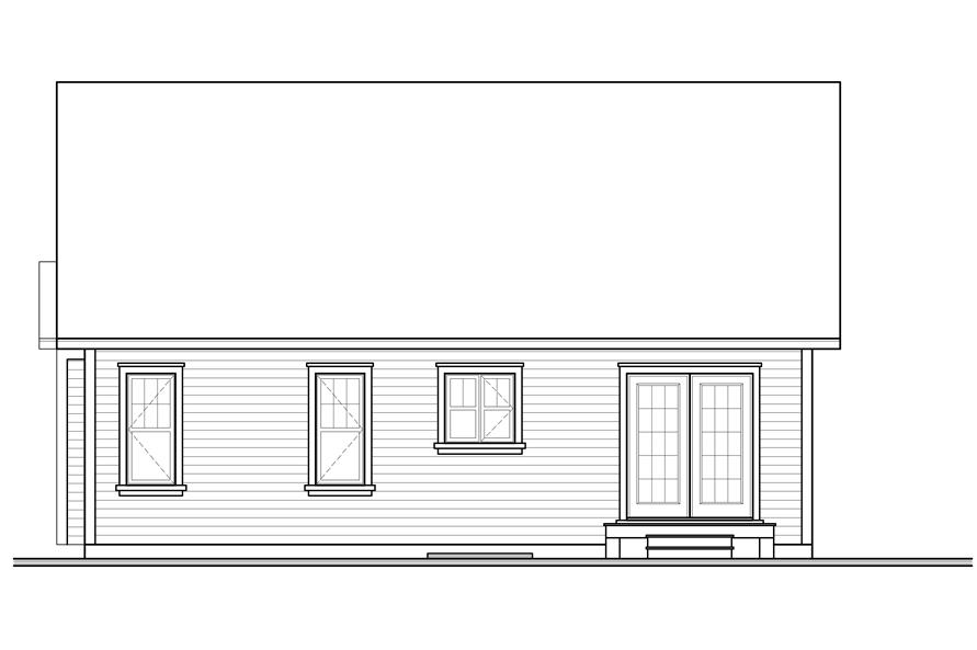 Home Plan Rear Elevation of this 2-Bedroom,1113 Sq Ft Plan -126-1040