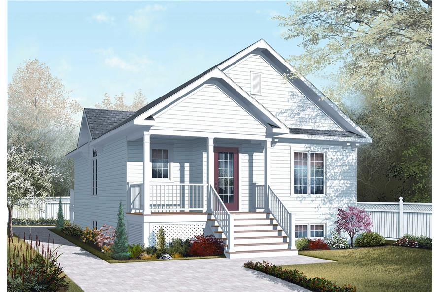 This is a colorful rendering of these Small House Plans.