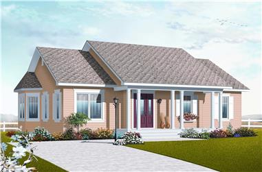 This image shows the front elevation of these Country Ranch House Plans.