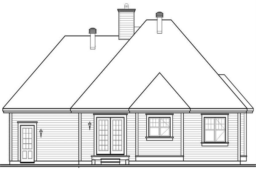 Home Plan Rear Elevation of this 2-Bedroom,1186 Sq Ft Plan -126-1045