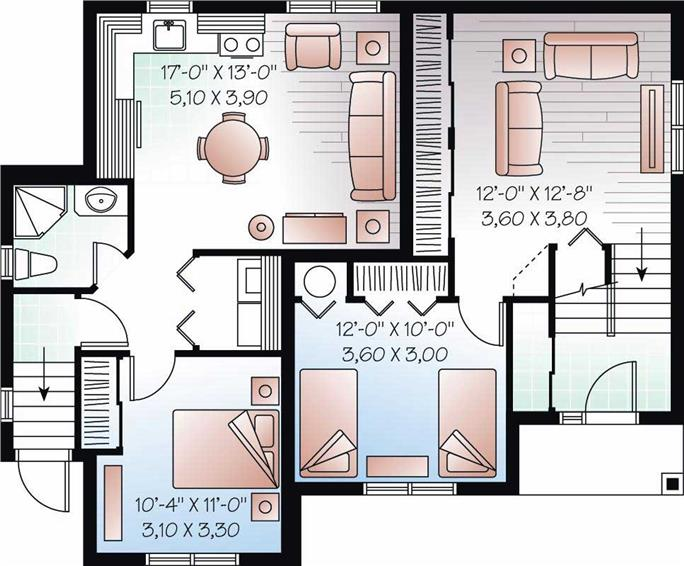 In-Law Suite House Plan - 4 Bedrms, 2 Baths - 2056 Sq Ft - #126-1048