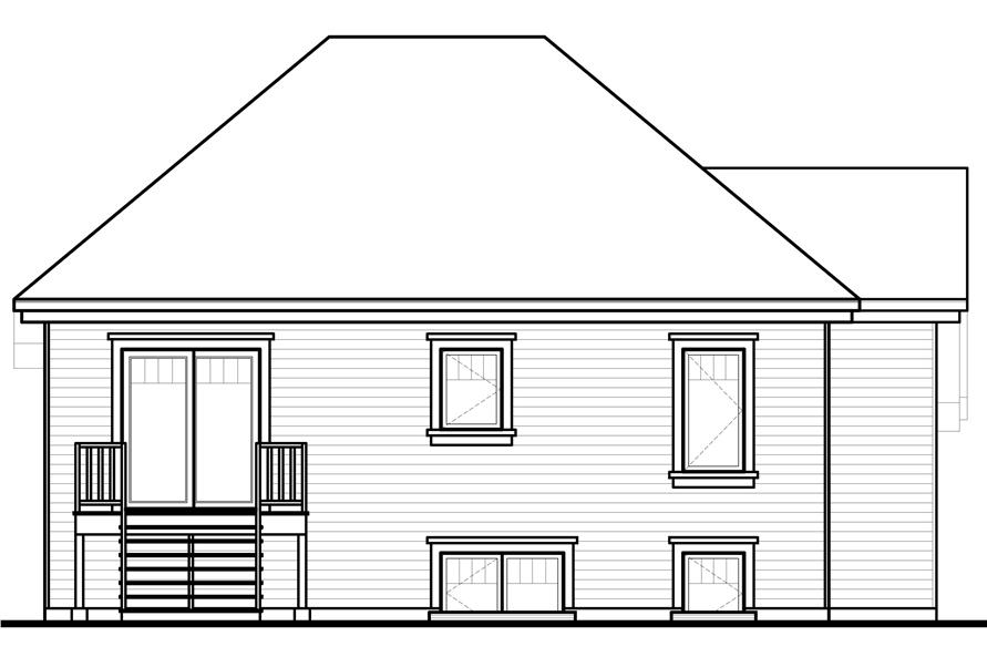 Home Plan Rear Elevation of this 4-Bedroom,2056 Sq Ft Plan -126-1048