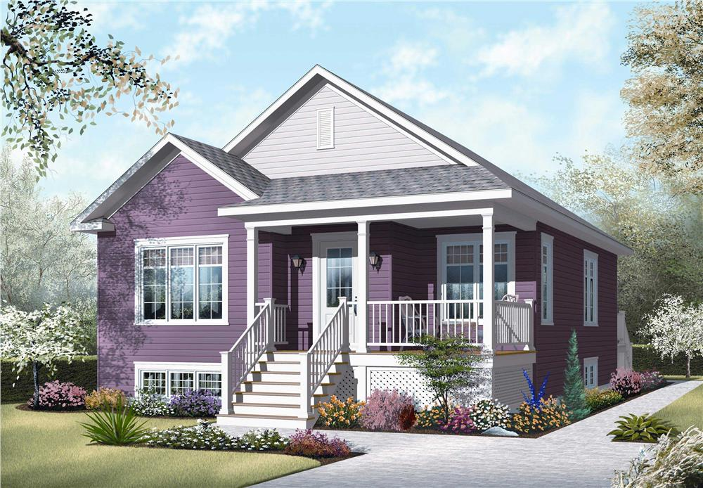 This image shows the front elevation for these Bungalow Home Plans.
