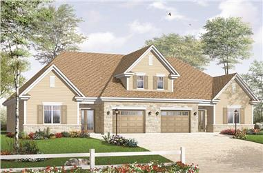 3-Bedroom, 2868 Sq Ft Multi-Unit House Plan - 126-1051 - Front Exterior