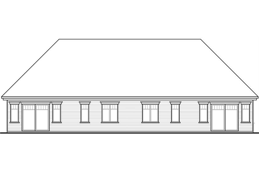 Home Plan Rear Elevation of this 3-Bedroom,2868 Sq Ft Plan -126-1051