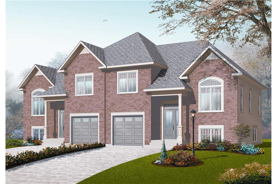 This is the front elevation for these Multi-Unit Home Plans.