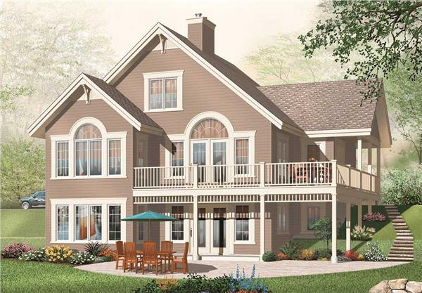 This is the rear elevation for these Traditional House Plans.