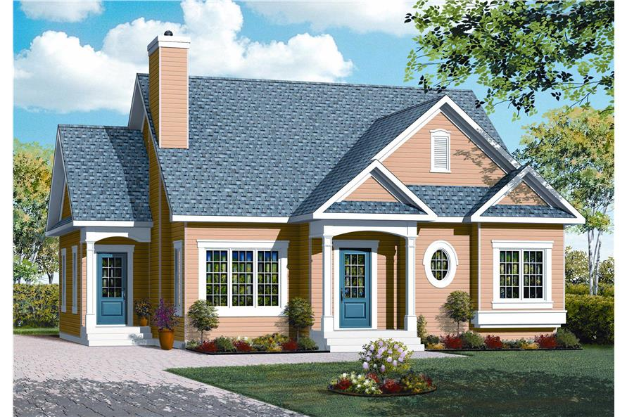 This is an artist's rendering for these Country Houseplans.