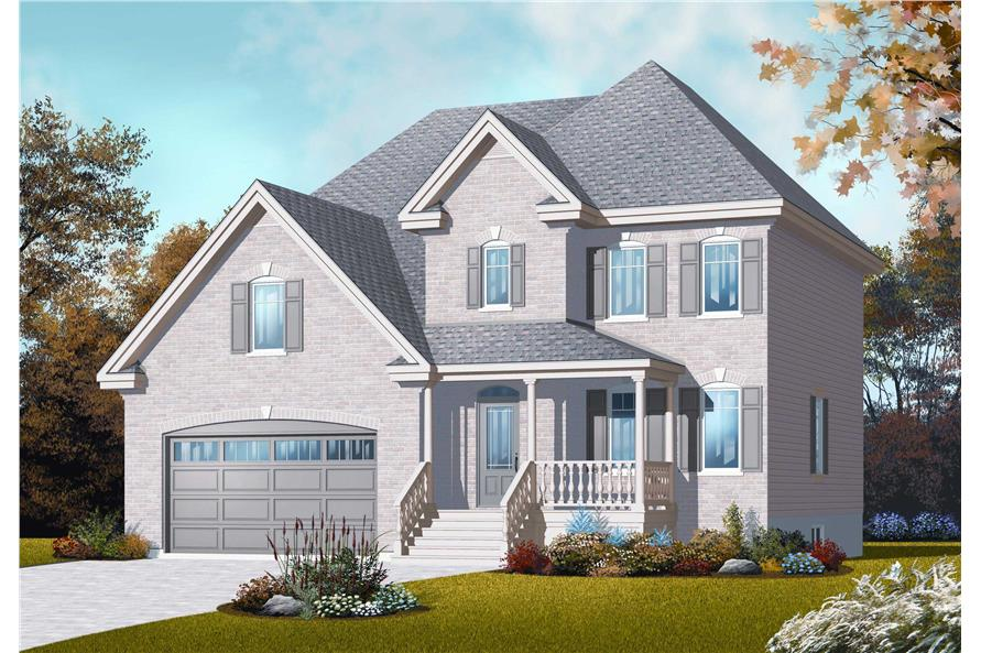 This is the front elevation for these Country European House Plans.