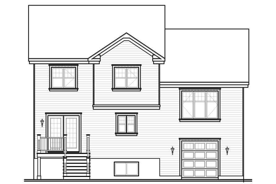 Home Plan Rear Elevation of this 4-Bedroom,1867 Sq Ft Plan -126-1065