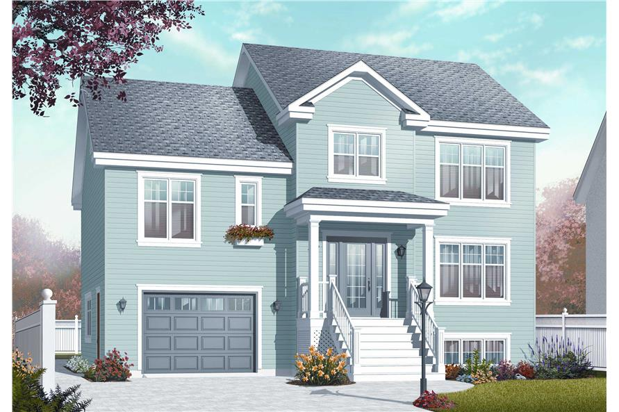 4-Bedroom, 1867 Sq Ft Multi-Level House Plan - 126-1065 - Front Exterior