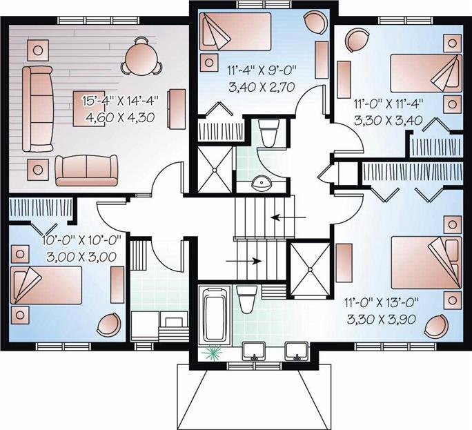 floor plan second story - Split Plan House Plans