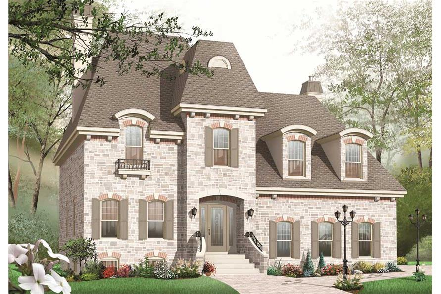 This is the front rendering for these European Home Plans.
