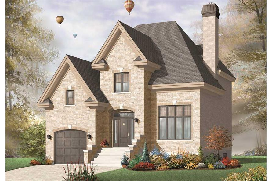 This image shows the front elevation of these European House Plans.