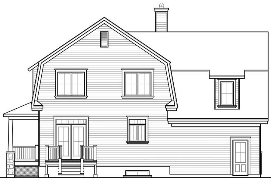 Home Plan Rear Elevation of this 5-Bedroom,2221 Sq Ft Plan -126-1069