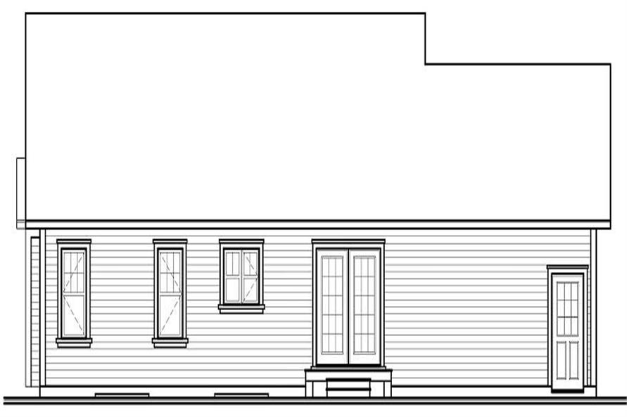 Home Plan Rear Elevation of this 2-Bedroom,1113 Sq Ft Plan -126-1070