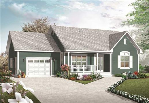 This is the front elevation for these Small Country House Plans.