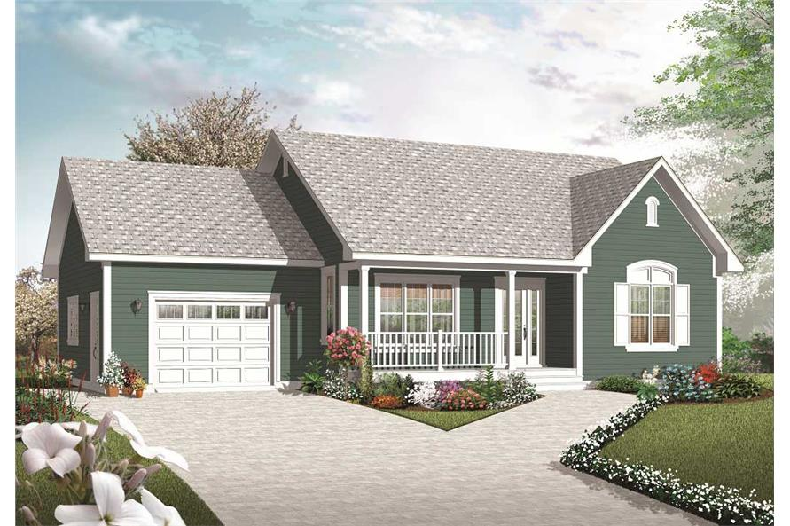 126 1070 this is the front elevation for these small country house plans - Country Home Plans