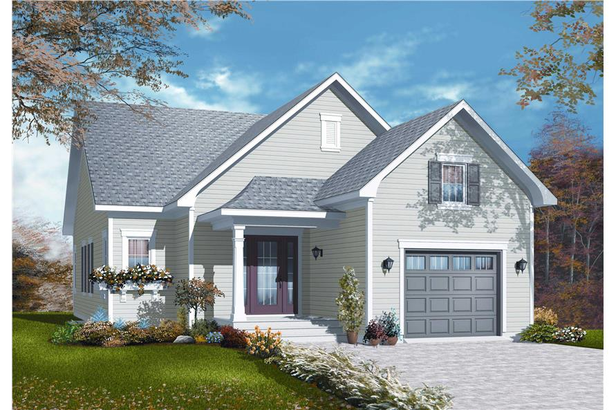 This is the front elevation for these Small Country Home Plans.
