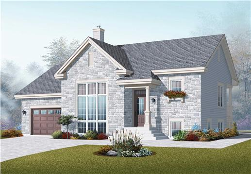 This image shows the front elevation for these Split-Level House Plans.