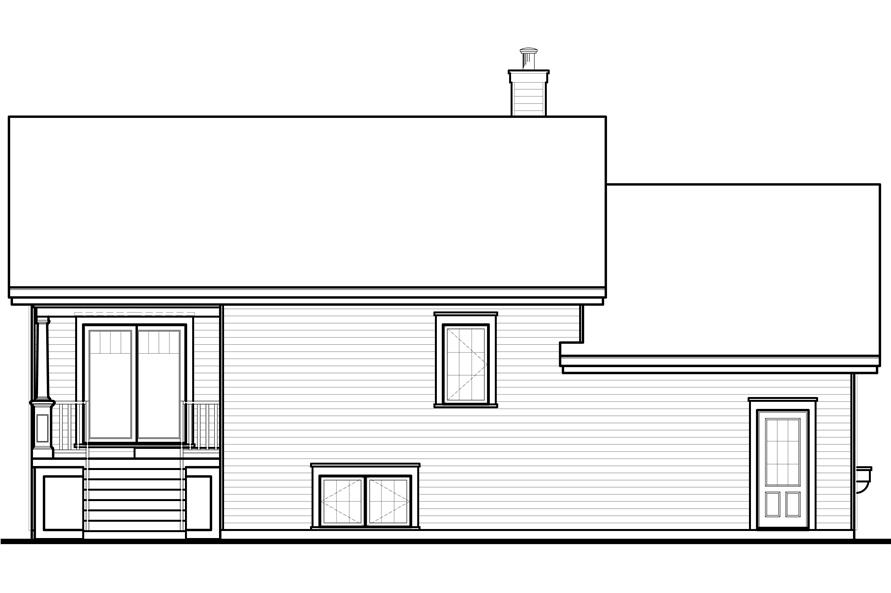 Home Plan Rear Elevation of this 3-Bedroom,1716 Sq Ft Plan -126-1075