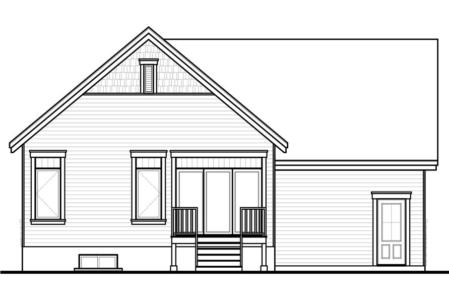 Home Plan Rear Elevation of this 1-Bedroom,1054 Sq Ft Plan -126-1079