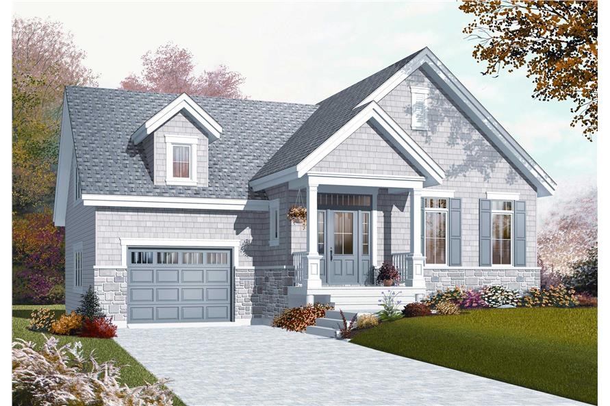 1-Bedroom, 1054 Sq Ft Country Home Plan - 126-1079 - Main Exterior
