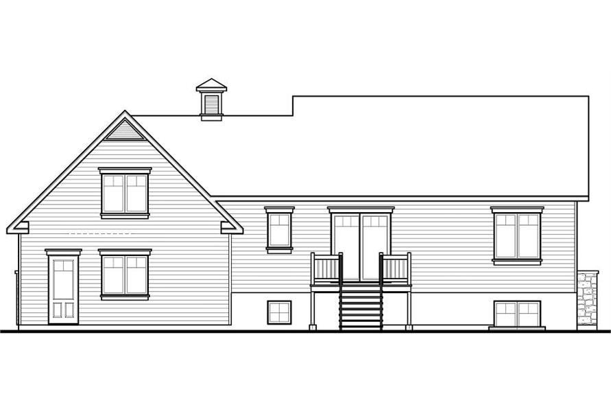 Home Plan Rear Elevation of this 4-Bedroom,2136 Sq Ft Plan -126-1081