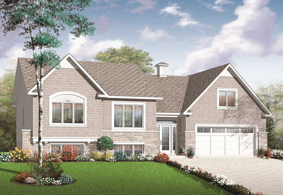 126 1081   Color rendering House Plan  126 1081. Split Level Multi Level House Plan  2136 sq  ft  Home Plan  126 1081