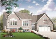 This is the front elevation for these split-level home plans.