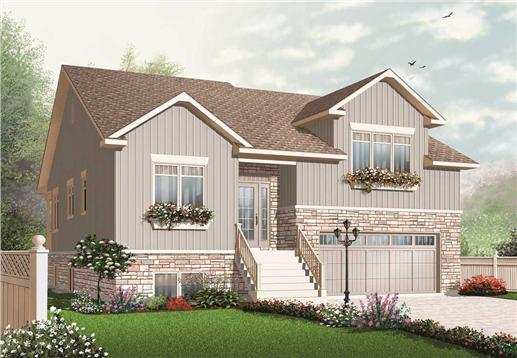 This is a computerized front elevation of these Split-Level House Plans.