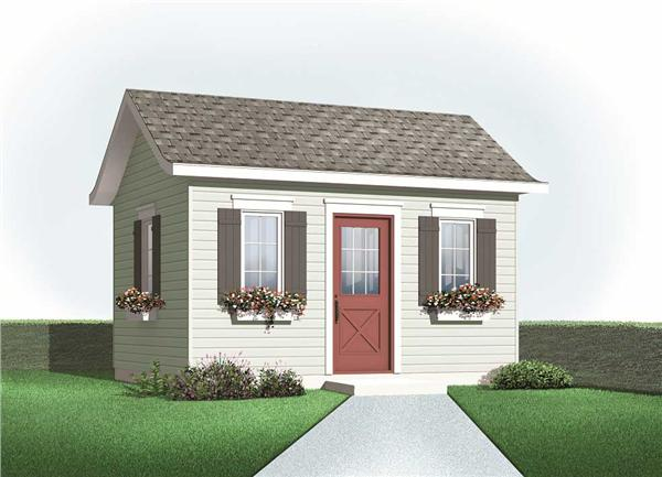 This is a colored rendering of these small house plans.