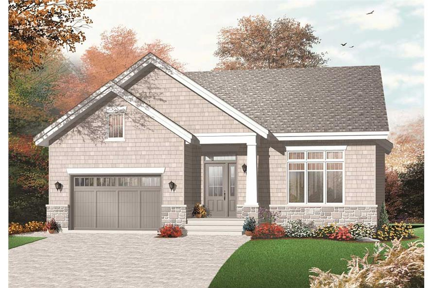 This image shows the front elevation for these Craftsman House Plans.
